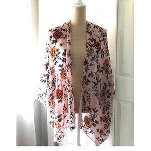 Apricot lane sheer velour floral print kimono